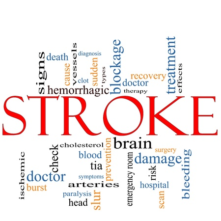 A Stroke word cloud concept with terms such as doctor, sudden, brain, bleed, signs, blockage and more.