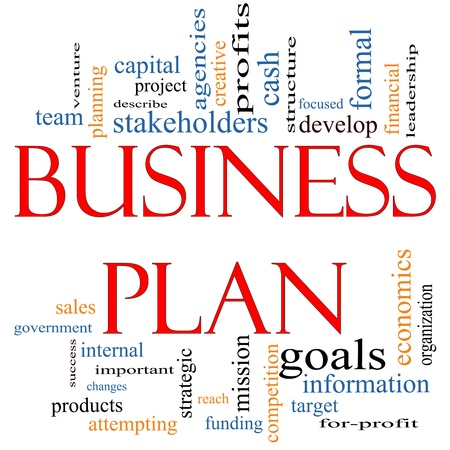 Business Plan Word Cloud Concept with great terms such as profits, project, develop, goals, information, mission, venture and more.