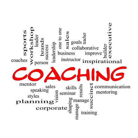 Photo pour A Coaching word cloud concept scribbled with red with terms such as mentor, seminar, isntructor, sports, goals and more. - image libre de droit