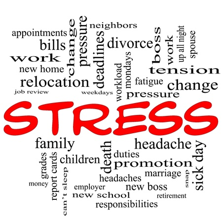 A word cloud concept in red caps around the word Stress with great terms such as pressure, deadlines, family, duties, tension, change and more.