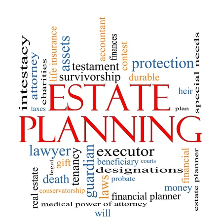 Estate Planning Word Cloud Concept with great terms such as , tenancy, durable, will, financials, lawyer, executor, probate and more