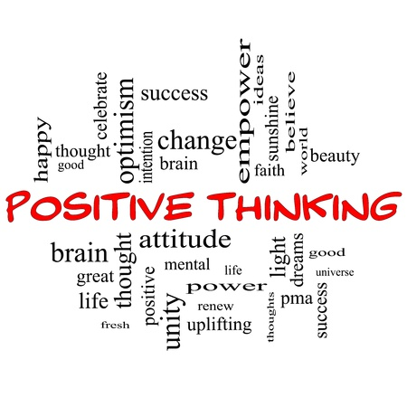 Positive Thinking Word Cloud Concept in red capital letters with great terms such as good, mental, thought, life, optimism and more