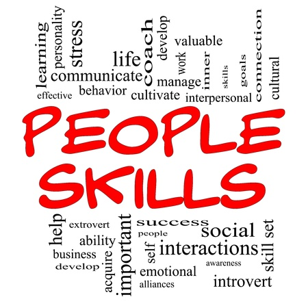 People Skills Word Cloud Concept in red capital letters with great terms
