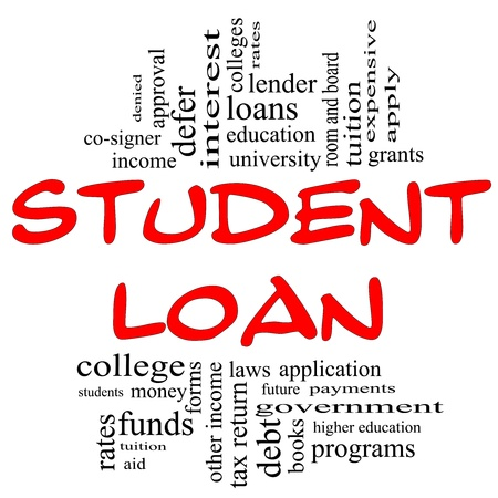 Student Loan Word Cloud Concept in red and black letters with great terms such as students, education, tuition, grants, application, college, loans and more.