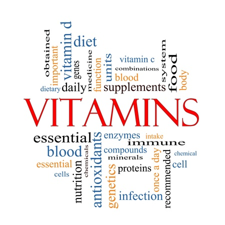 Vitamins Word Cloud Concept with great terms such as intake, immune, dietary, nutrition, units, antioxidants, enzymes and more.