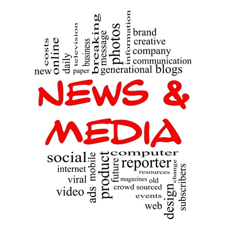 News and Media Word Cloud Concept in red and black letters with great terms such as television, brand, viral, magazines, social, internet, events and more.