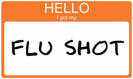 Hello I got my Flu Shot orange name tag sticker.