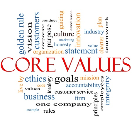 Core Values Word Cloud Concept with great terms such as mission, statement, ethics, vision, code and more.