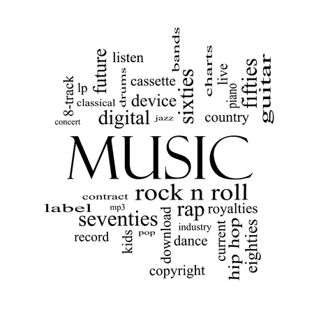 Music Word Cloud Concept in black and white with great terms such as rock n roll, rap, pop, download, lp and more