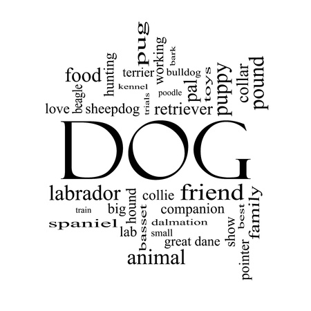 Dog Word Cloud Concept in black and white with great terms such as love, friend, best, hound and more.