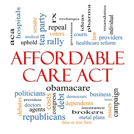 Affordable Care Act Word Cloud Concept with great terms such as healthcare reform, exchanges, insurance, law and more.