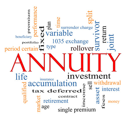 Annuity Word Cloud Concept with great terms such as investment, rollover, income and more.