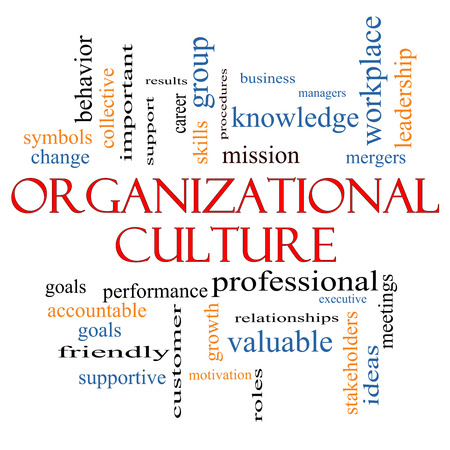 Organizational Culture Word Cloud Concept with great terms such as roles, executive, mergers, mission and more.