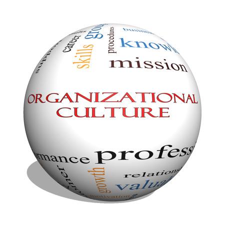 Photo pour Organizational Culture 3D sphere Word Cloud Concept with great terms such as roles, executive, mergers, mission and more. - image libre de droit