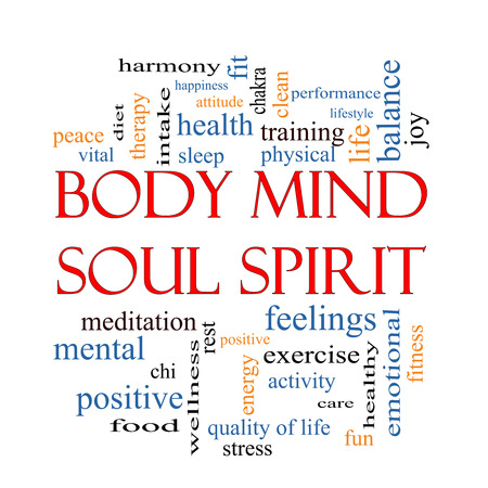 Body Mind Soul Spirit Word Cloud Concept with great terms such as harmony, life, sleep, fit and more.