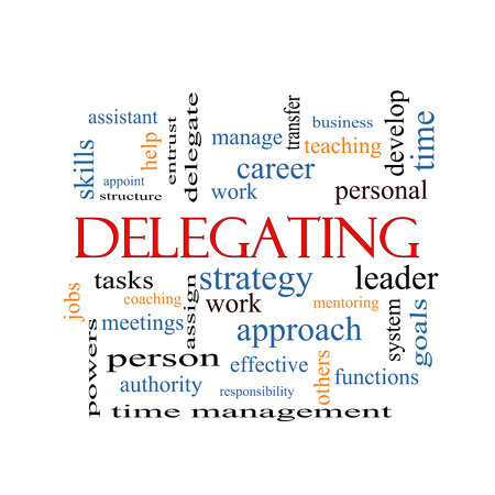 Delegating Word Cloud Concept with great terms such as work, tasks, jobs and more.