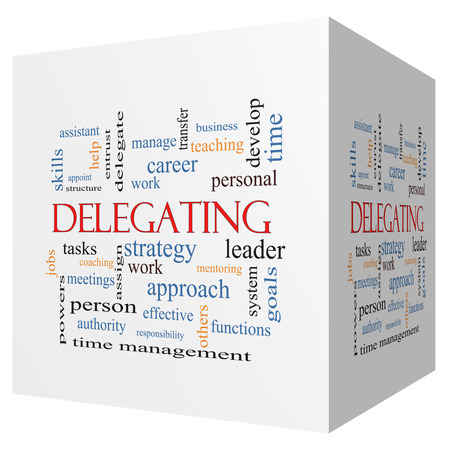 Delegating 3D cube Word Cloud Concept with great terms such as work, tasks, jobs and more.