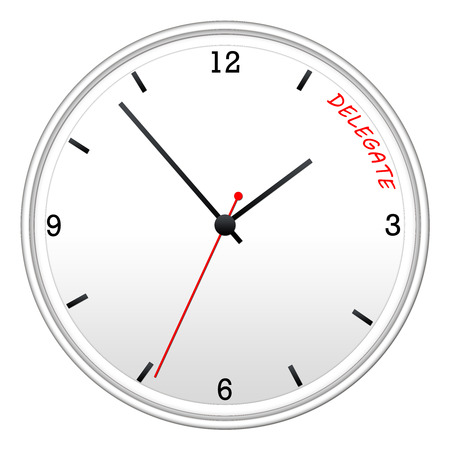 Time to Delegate on a white wall clock making a great concept.