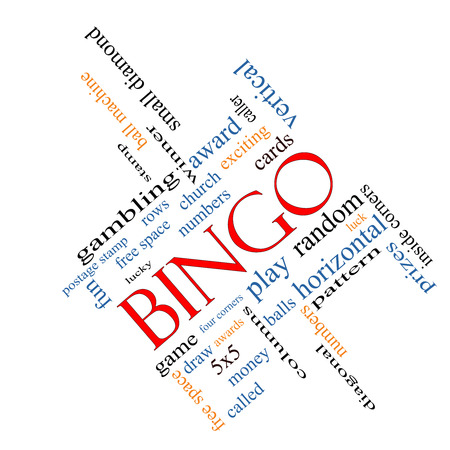 Bingo Word Cloud Concept angled with great terms such as numbers, balls, prizes and more.
