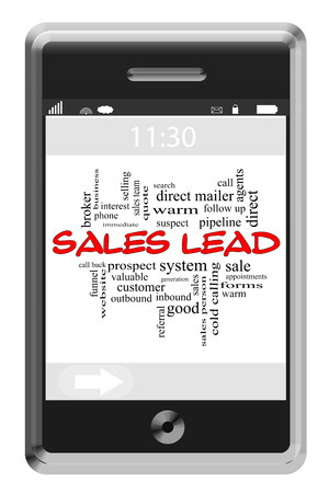 Sales Lead Word Cloud Concept of Touchscreen Phone with great terms such as prospect, sell, pipeline and more.