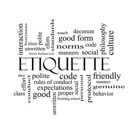 Etiquette Word Cloud Concept in black and white with great terms such as manners, polite, social and more.