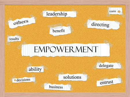 Empowerment Corkboard Word Concept with great terms such as leadership, results, benefit and more.