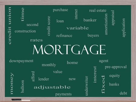 Mortgage Word Cloud Concept on a Blackboard with great terms such as loan, home, banker and more.