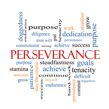 Perseverance Word Cloud Concept with great terms such as endurance, doggedness, purpose and more.
