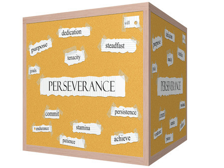 Perseverance 3D cube Corkboard Word Concept with great terms such as dedication, steadfast, tenacity and more.