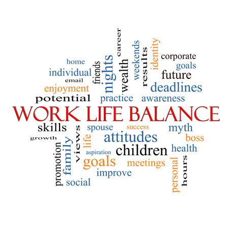 Work Life Balance Word Cloud Concept with great terms such as family, boss, career and more.