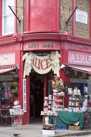 LONDON, UNITED KINGDOM - JUNE 23, 2017: Alice's shop, famous antique shop at the Portobello road, shopwindow, Nothing Hill
