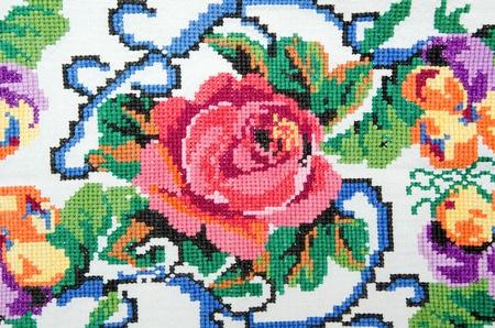 Photo pour embroidered good by cross-stitch pattern. ukrainian ethnic ornament - image libre de droit