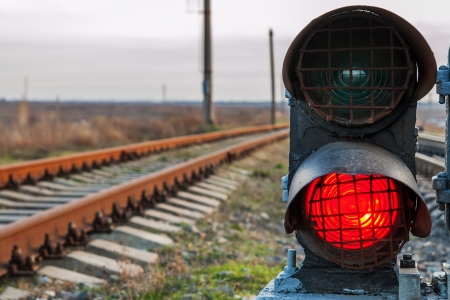 railroad track and stop light