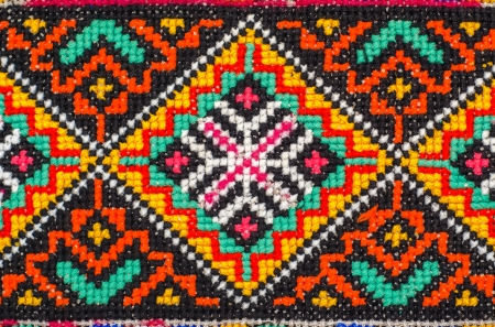 Foto de embroidered good by cross-stitch pattern. ukrainian ethnic ornament - Imagen libre de derechos