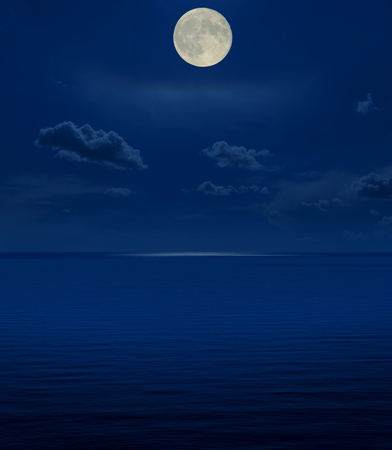 full moon in night over sea