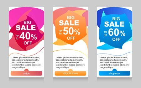 Dynamic modern fluid mobile for sale banners. Sale banner template design, Flash sale special offer set
