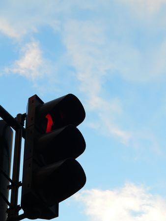 The light signal against a blue sky.