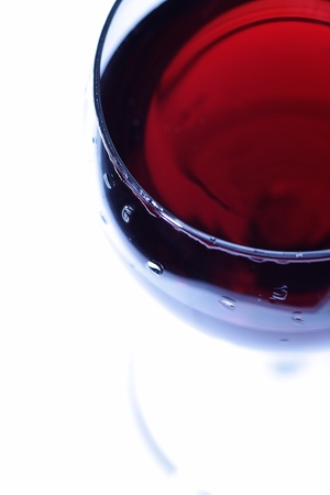 The red wine glass. View from above.