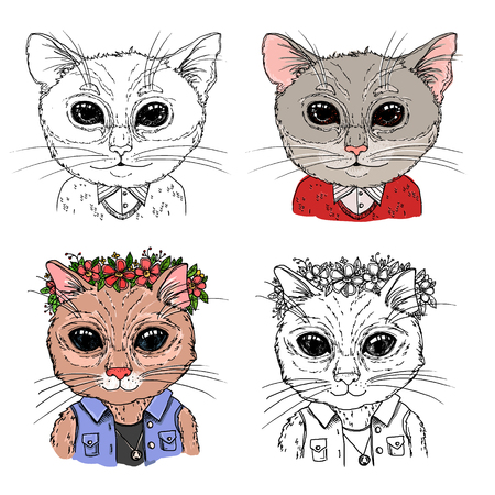 Hand-drawn vector illustration. Hipster cats. Vintage. Isolated on white background