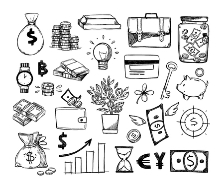 Ilustración de Hand drawn vector illustrations - Save money. Sketch design elements. Finance, payments, banks, cash, four-leaf clover, money box. Perfect for business presentations, web, bunners, advertising - Imagen libre de derechos