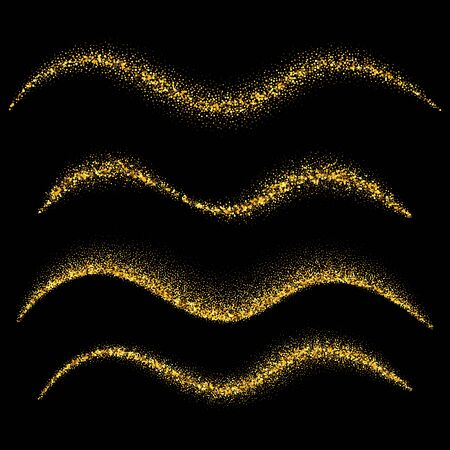 Illustration for Set of gold waves. Gold glittering star dust trail sparkling particles. Vector illustration - Royalty Free Image
