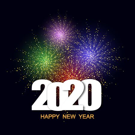 Illustration for Happy New Year 2020 festival with colorful fireworks background.Greeting card and party poster.Celebration and cheerful holiday. eps10 - Royalty Free Image
