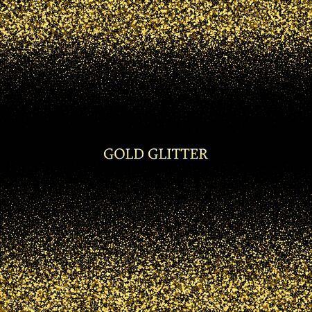 Illustration for Festive background with falling glitter confetti, golden dust on black. Sparkling glitter border, vector frame. Great for wedding invitations, party posters, christmas, new year and birthday cards. - Royalty Free Image