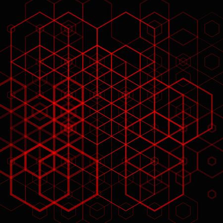 Illustration for Abstract red hexgonal pattern on dark background - Royalty Free Image