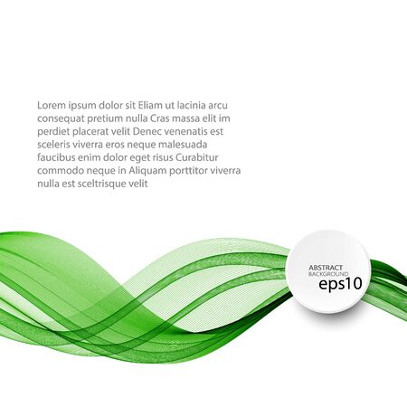 Ilustración de Abstract green wave vector background, horizontal wavy wave lines on white background eps10 - Imagen libre de derechos