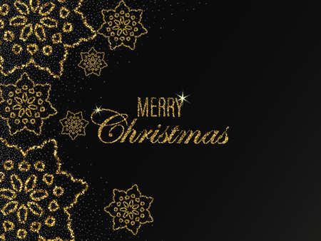 Illustration for Christmas vector background with shining golden snowflakes and snow. Merry Christmas card illustration on black background. Sparkling golden snowflakes with glitter texture - Royalty Free Image