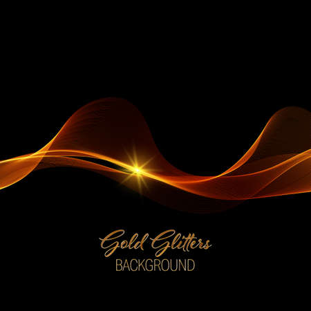 Illustration for Abstract shiny color gold wave design element with gold glitter effect on dark background. - Royalty Free Image