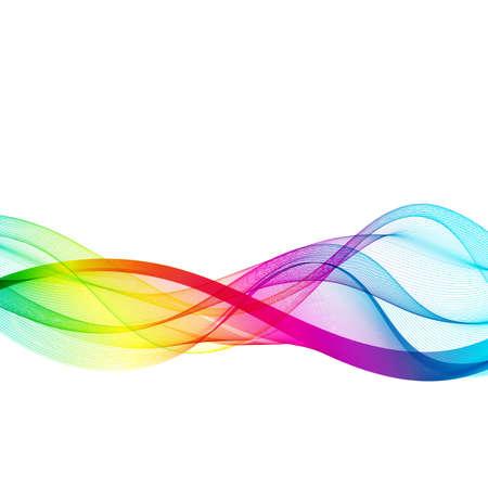 Illustration pour Horizontal smoky rainbow wave on white background. - image libre de droit