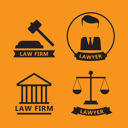 Law and justice thin line icons. The legal system, judge, police
