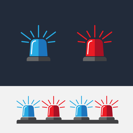 Police flasher sirens set realistic. Siren police light icon flat vector